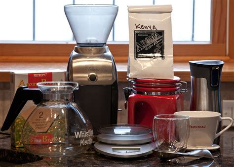 The coffee setup, 2010. I own a lot of ways to make coffee, but I?ve settled into a pattern of