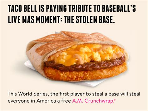Taco Bell World Series Giveaway - taco bell to give away free a m crunchwrap after steal in world series fast food geek