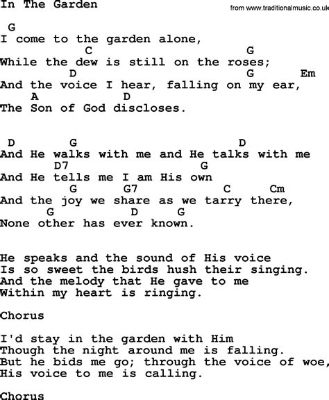 In The Garden Lyrics And Chords by Johnny Song In The Garden Lyrics And Chords
