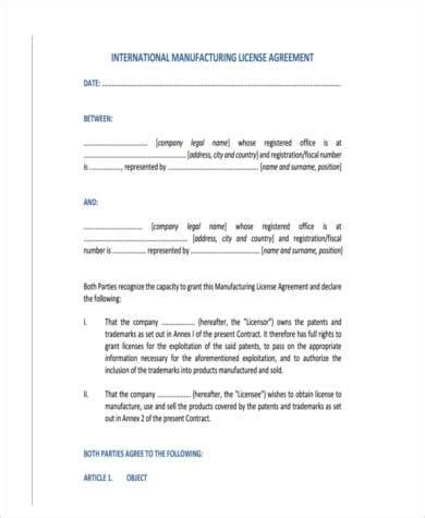 manufacturing agreement template free manufacturing license agreement template 28 images sle
