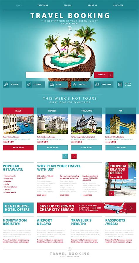 Travel Booking Responsive Website Template Booking Website Template