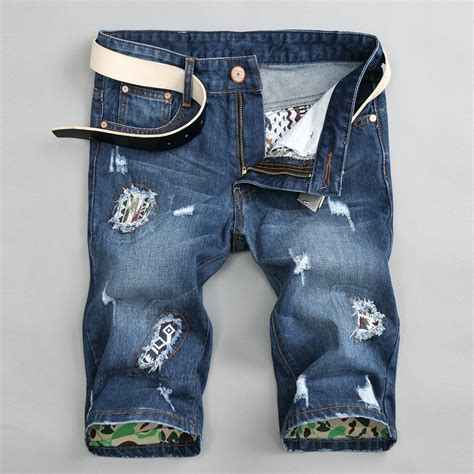 Patchwork Denim Shorts - s fashion ripped denim shorts patchwork shorts