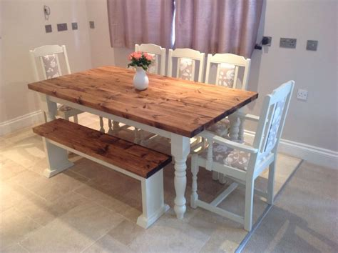 shabby chic rustic farmhouse solid 8 seater dining table bench and 6 oak chairs dining