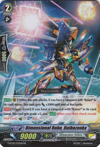 Cardfight Vanguard Singles Dimensional Robo Daimagnel dimensional robo daibazooka g fc02 037en rr