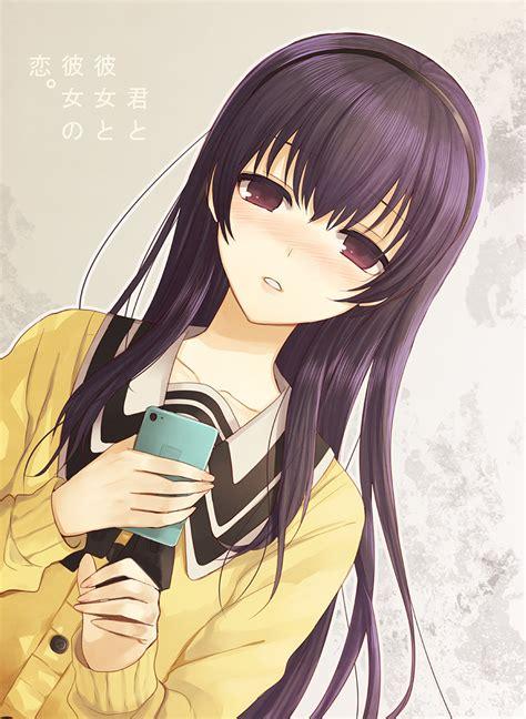 Id 0226 Anime Gray Cardigan Sweater the big imageboard tbib 1girl banned artist black black hair blush cardigan cellphone