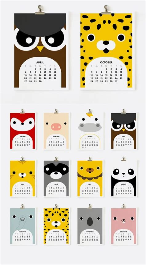 design calendar graphic calendar cute animals and animals on pinterest