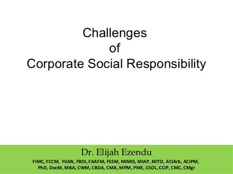 challenges of corporate social responsibility