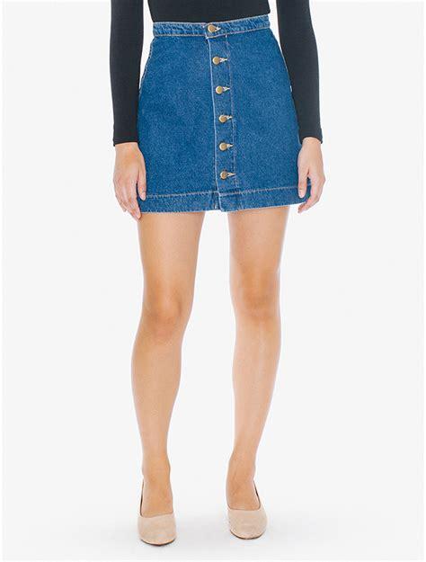 A Line Mini Denim Skirt denim button front a line mini skirt american apparel