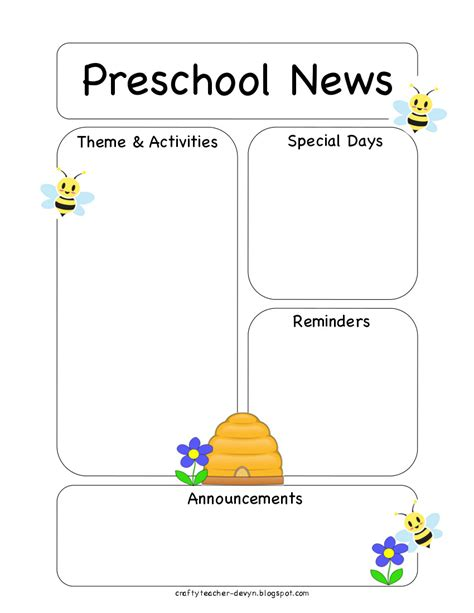 Free Printable Preschool Newsletter Templates the crafty preschool bee newsletter template