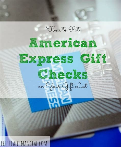 How To Put Money On American Express Gift Card - time to put american express gift checks on your gift list critical financial