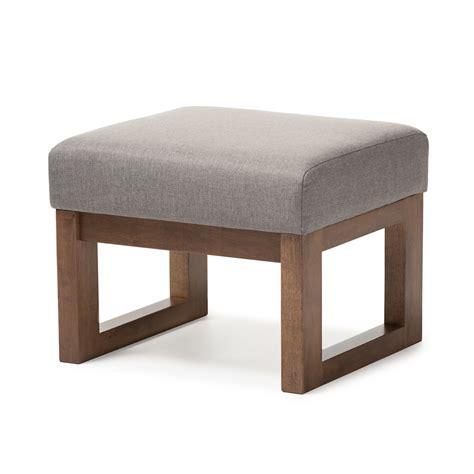 upholstered stool ottoman baxton studio yashiya mid century retro modern grey fabric