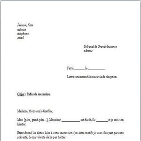 Exemple De Lettre Succession T 233 L 233 Charger Mod 232 Le De Lettre Refus De Succession Gratuit