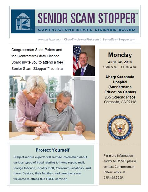 Senior Scam Stopper Workshop   Congressman Scott Peters