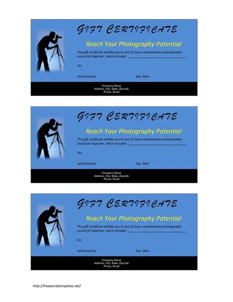 photography gift certificate template free microsoft