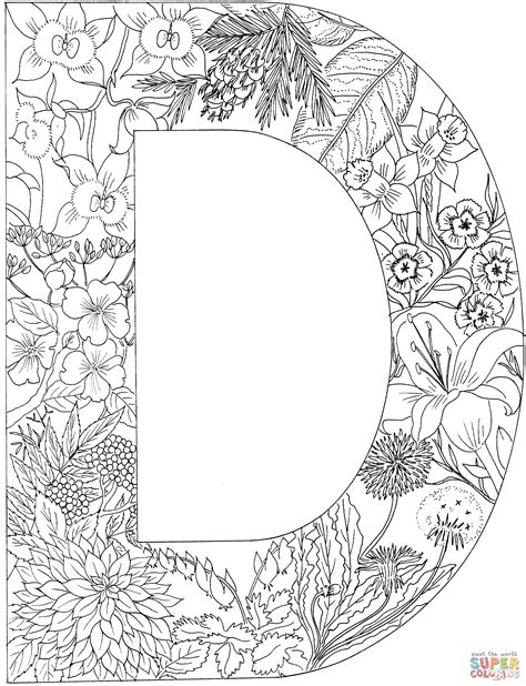 Alphabet D Coloring Pages by Letter D With Plants Coloring Page Free Printable