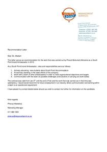 Reference Letter From Employer For Accommodation South Point Accommodation Recommendation Letter