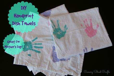 kitchen towel craft ideas diy handprint dish towels canary crafts