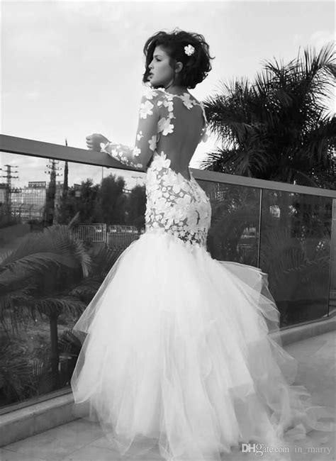 Real Images Backless Wedding Dresses 2016 Long Sleeves Vintage Lace Mermaid Bateau Neckline