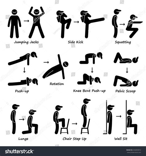 figure fitness workout exercise fitness set stock vector