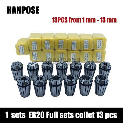 free shipping top standard quality er20 collet set 13 pcs