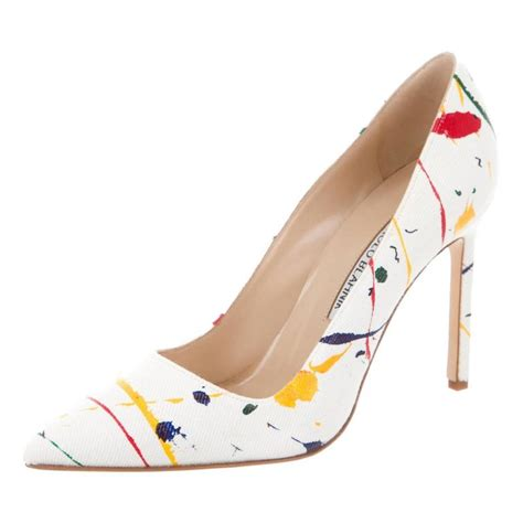 manolo blahnik high heels manolo blahnik new and sold out multi color canvas high