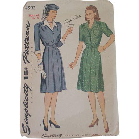 Shirtwaist Dress Pattern | vintage 1944 simplicity shirtwaist dress pattern 4992
