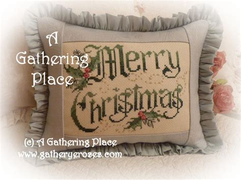 winner merry christmas cross stitch pillow
