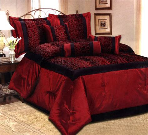 red king comforter set 7 pcs flocking leopard satin comforter set bed in a bag