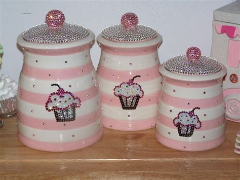 cupcake canisters for kitchen cupcake bling bonnie s cupcake kitchen