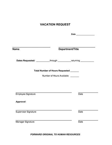 Vacation Request Letter Exle Vacation Request Form Images
