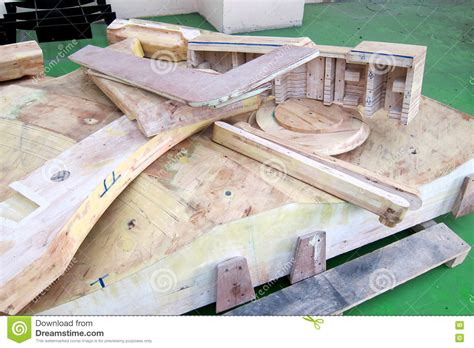 wood pattern making for casting foundry sand molded casting stock photography