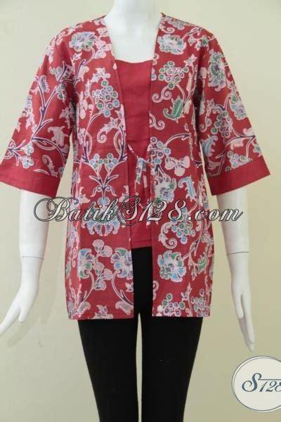 Kemeja Wanita Motif Bunga 128 baju batik motif bunga merah batik kerja wanita modern