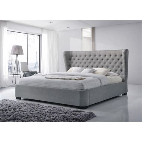 grey bed frame king luxeo manchester gray king upholstered bed k6320 gry