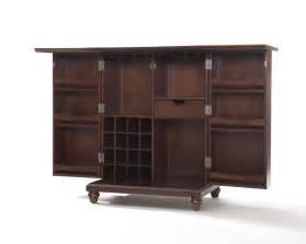 Furniture Bar Cabinet Crosley Furniture Cambridge Expandable Bar Cabinet In Vintage Mahogany Efurniture Mart