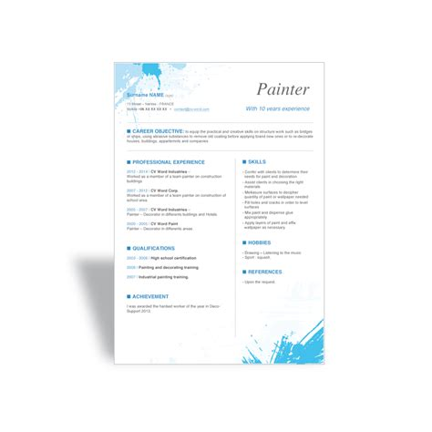 cv word template word cv r 233 sum 233 template painter