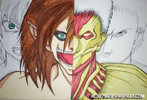 Attack On Titan Eren Vs Reiner Armored Titan draw by ... Attack On Titan Eren Titan Vs Armored Titan