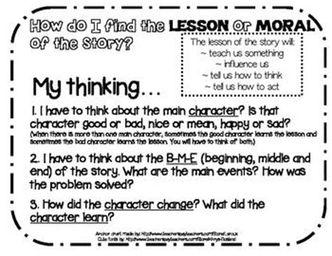 themes morals list rl 2 2 moral or lesson of the story anchor chart thinking