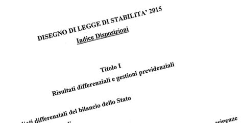 legge di stabilit 224 2015 testo integrale approvato dal governo