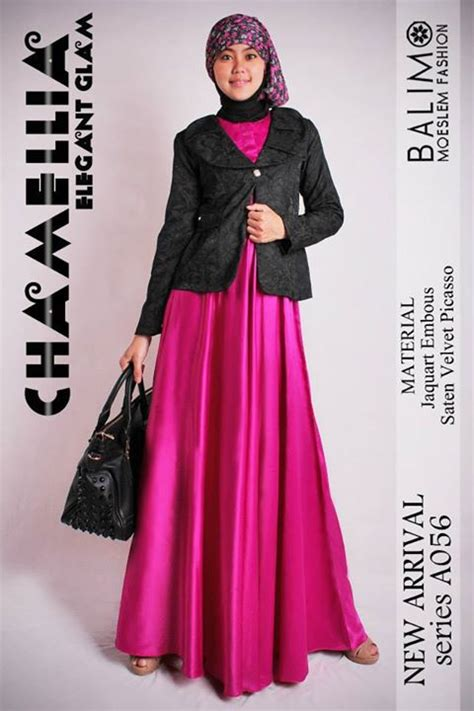 Dress Ayla By Cadee Collection balimo chamellia magenta baju muslim gamis modern