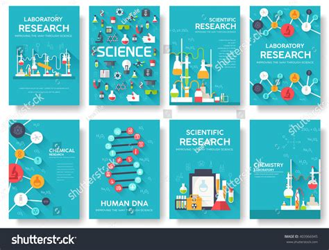 infographic book layout science information cards set laboratory template of