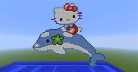 Hello Kitty Mansion hello kitty riding a dolphin in minecraft by bakahentai90