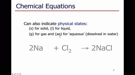 introduction to writing chemical equations youtube