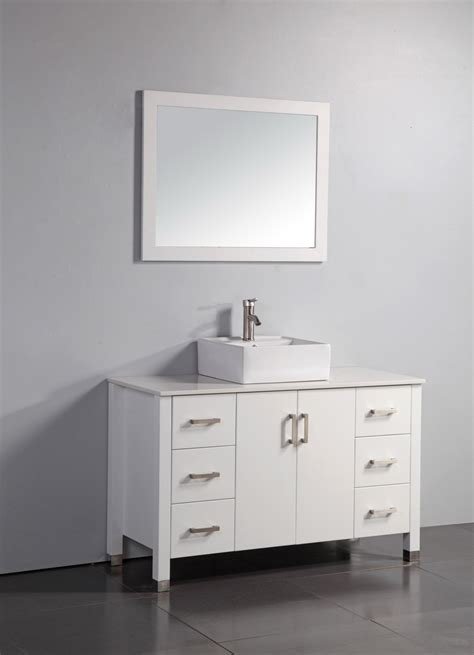 Bathroom Vanities Faucets Legion 48 Inch Modern Single Vessel Sink Bathroom Vanity White Finish White Ceramic Sink