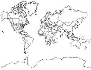 World Map Outline With States by World Map Mercator Projection With Antarctica
