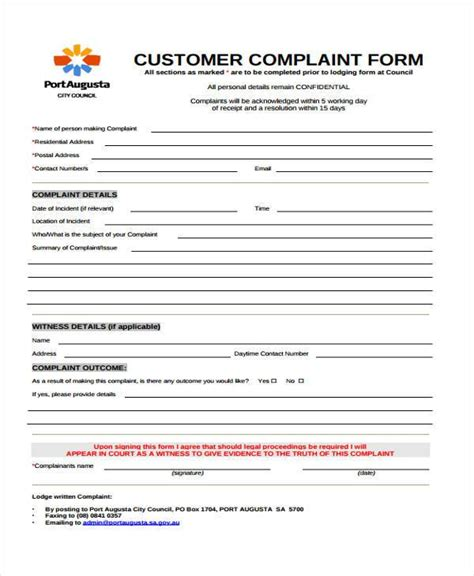 formal complaint form template complaint form templates