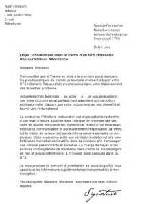 lettre de motivation bts h 244 tellerie restauration