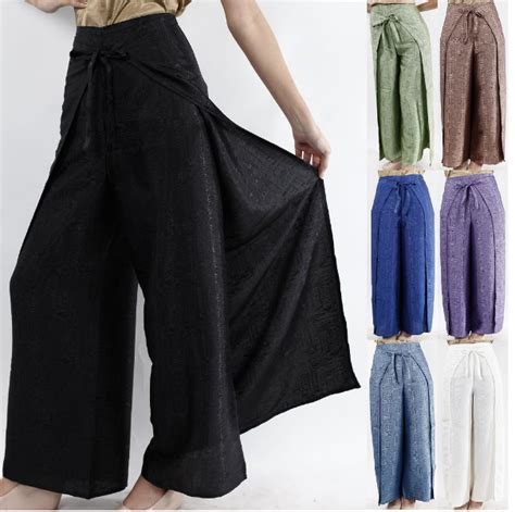 yoga wrap pants pattern womens black thai silk wrap pants fisherman sarong harem