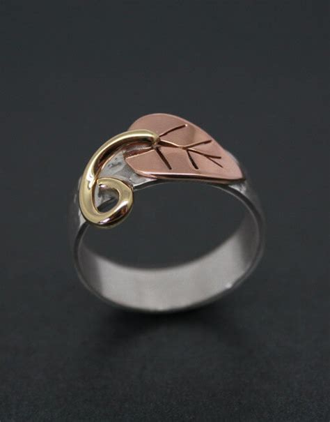 Handmade Copper Jewellery Uk - handmade silver and copper leaf ring starboard jewellery
