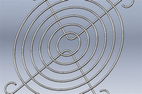 grid pattern solidworks grill grid for 40mm fan step iges 3d cad model