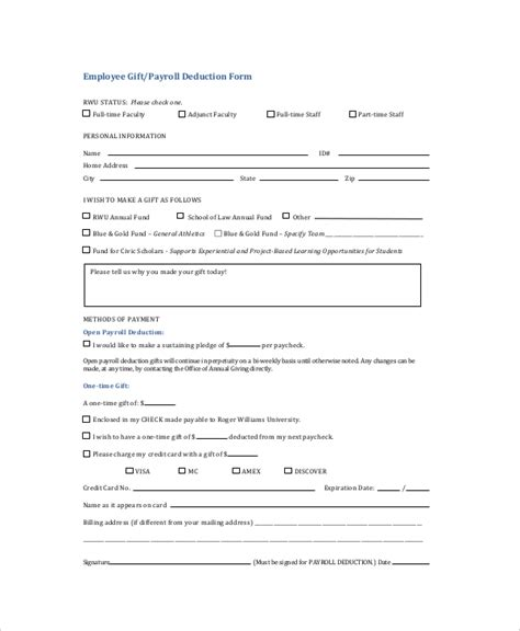 payroll agreement template sle payroll deduction forms 10 free documents in pdf